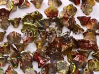 25 Czech Glass Flower Cup Beads 7 x 5 mm Magic Apple